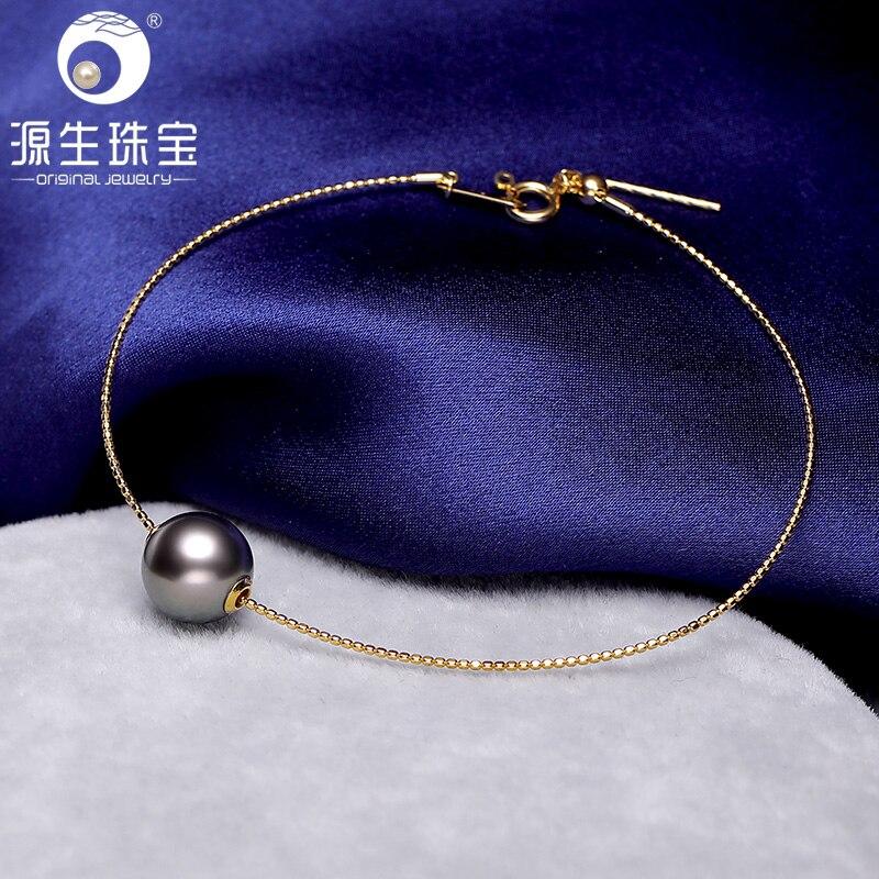 YS 18K Solid Gold Bracelet Genuine Natural Saltwater Tahitian Akoya Pearl Bracelet