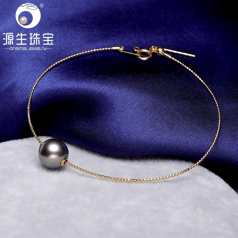[YS] 18K Solid Gold Bracelet Genuine Natural Saltwater Tahitian & Akoya Pearl