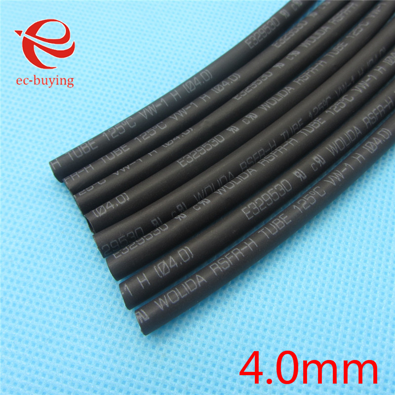 1m Heat Shrink Tubing Heatshrink Tubing 600 Voltage 125 Celsius Black Tube Wire Wrap Cable Kit Inner Diameter 4mm