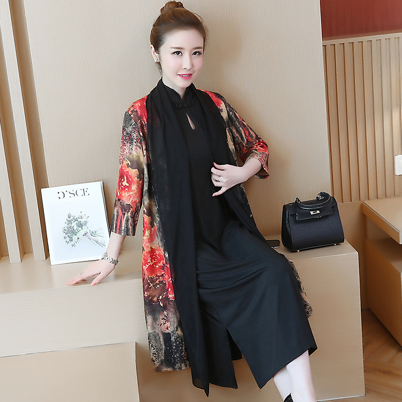 Red Women 2 piece dress with cardigan plus size elegant vintage print floral midi party dresses set 2019 spring Chinese clothes in Dresses from Women 39 s Clothing