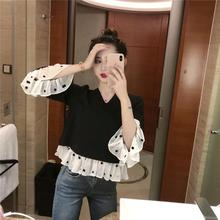 Yfashion New Chiffon Blouse Women Vintage Fashion Lady Dot Patchwork Stitching Elegant Shirt Blouses for Female