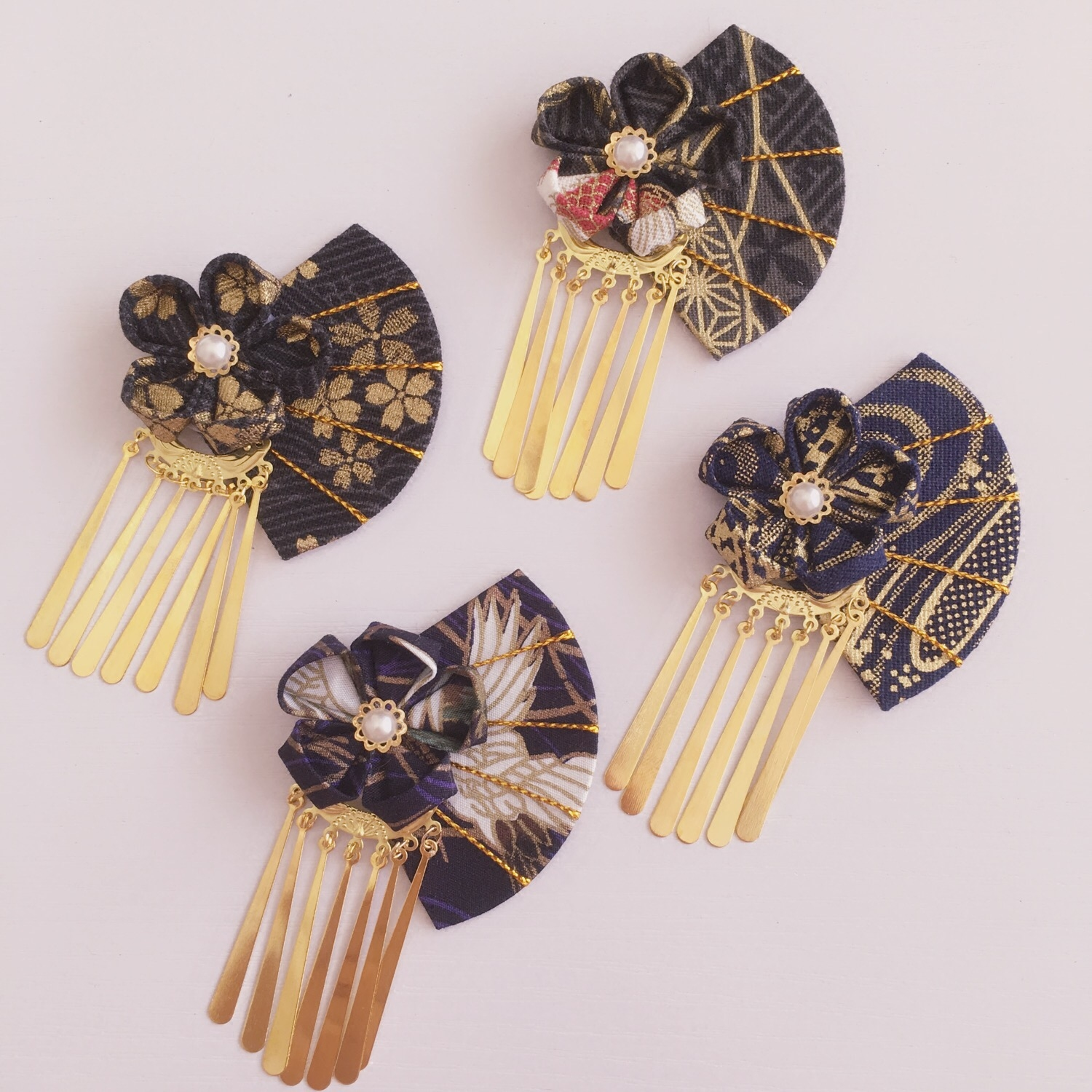 Japanese style and wind side clips fringed flower and rattan fan hair accessories fine hair accessories kimono bathrobe