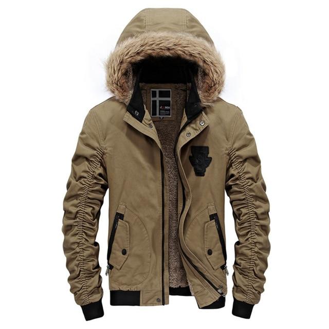 Winterjacke für Männer Abnehmbare Kapuze Jacke Mit Fell Innen Solide Warme  Windjacke Jacken Warme Winter Jacken 96980d0d3b