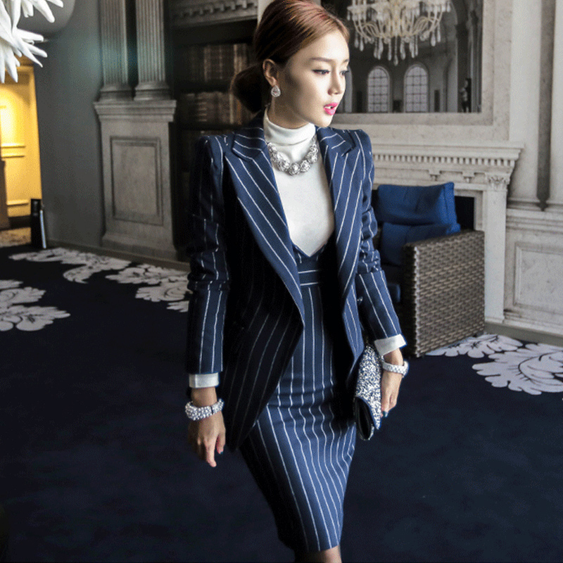OL Work Striped Office Lady Dress Suits 2 Two Piece Sets Elegant Women Blazer Jacket + Fashion Sheath Dresses Femme