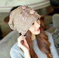 5Color Fashion Autumn Beanies For Women Floral Applique Lace Cotton Liner Keep Warm Women Winter Hat Gorros Girl Ears Hat CP096