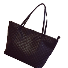 2016 new large capacity shopping bag/woven Todd internal zipper bag/portable soft interval knitting pattern PU leather tote bag