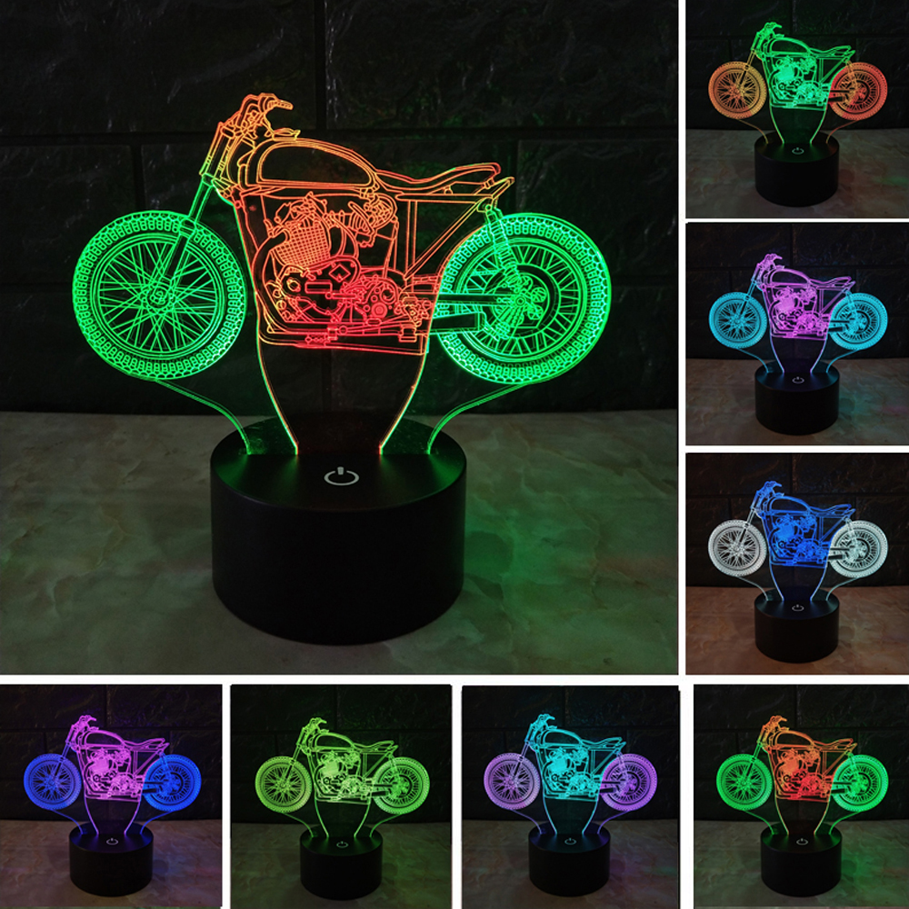 Amroe 3D Luminaria Motorcycle Mixed Color Led Night Light Touch RGB 7 Color Dimming illusion Gradient Bedroom Lamp Toys Gifts amroe 3d illusion love heart led lamp