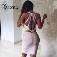 2015 New Free Shipping Goregous Sexy V Neck Halter Back Cross Straps Celebrity Party Bandage Dress