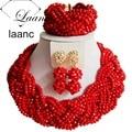Collares Cristalinos de la manera Rojo Opaco ABF877 Nigeriano Boda Perlas Africanas Joyería Conjunto Tradicional Del Envío Libre