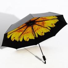 Новый Горячий 3D Цветы Печатных Зонтик 8 Спицы 3 Раза Женщины солнце УФ-Защитой Зонтики и Для Rain Drop Доставка 27 Стилей