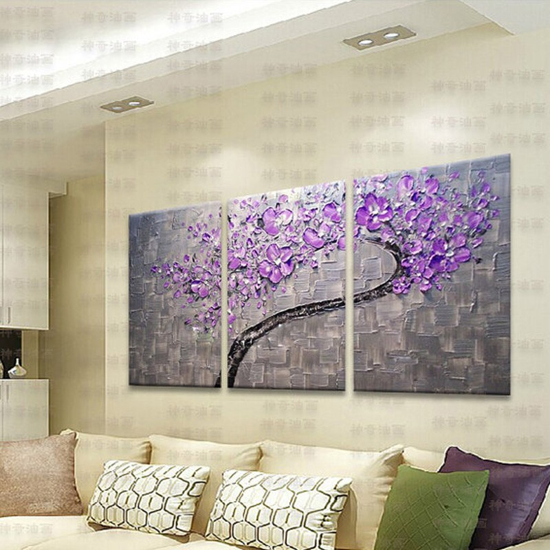 3 Panels Large Oil Painting Artist Supply Hand Painted Purple Flower Tree Knife Painting Gift  1