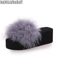 Hot Fur Flip Flops Women Ostrich Home Slippers Female Sweet Wedges Sandals Beach Shoes Autumn Pantufa