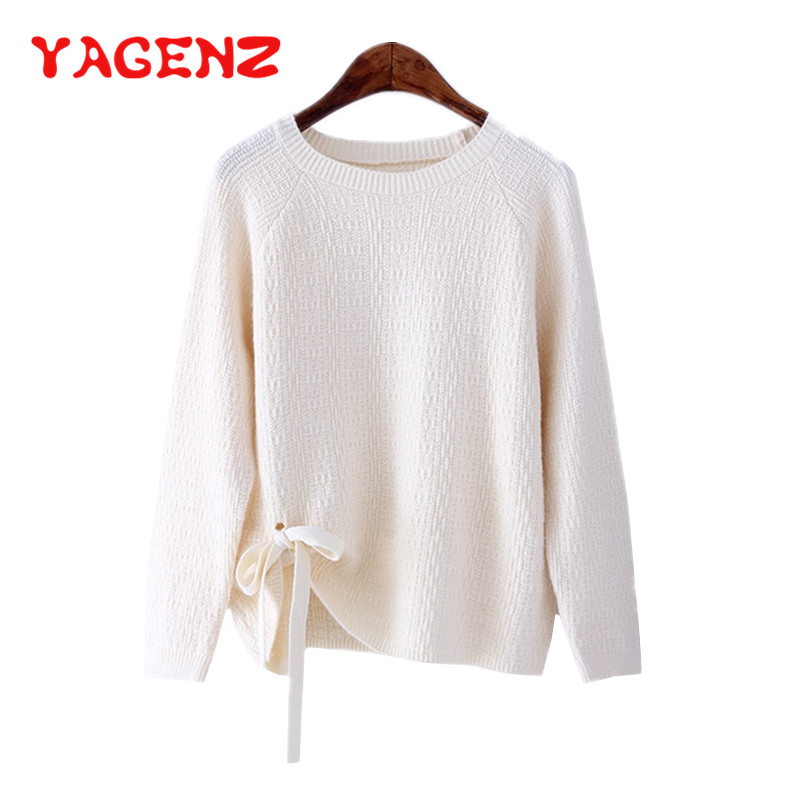 YAGENZ Knitted Sweater Spring-Autumn-Clothes Women O-Neck-Pullover Lace-Up Long-Sleeved