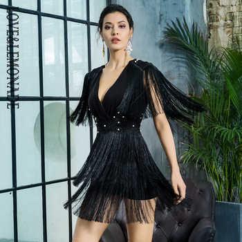 Love&Lemonade V-Neck Tassel Open Back Lace Beading Decoration Dress LM81402BLACK - DISCOUNT ITEM  0% OFF All Category