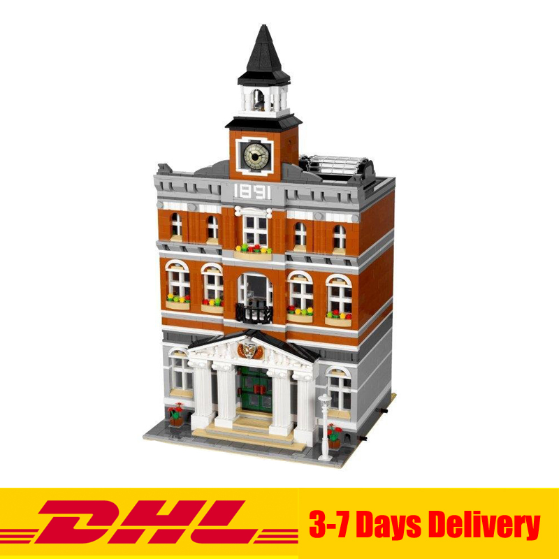 DHL 2859 PCS Lepin 15003 Street Town Hall Building Set City Street Blocks Model Self-Locking Bricks Toy Compatible 10224 lepin 15003 2859pcs city creator town hall sets model building kits set blocks toys for children compatible with 10024