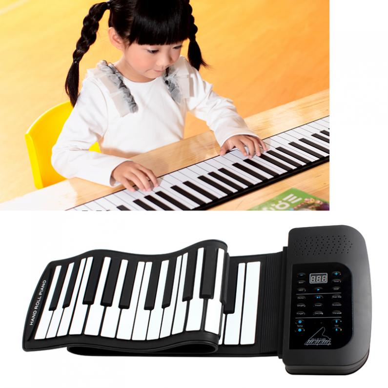 цена на Waterproof Digital Display Rechargeable 61Keys 128 Tones 128 Rhythms Children Electronic Flexible Roll Up Piano Built-in Speaker