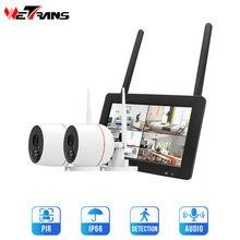 أمن الوطن كاميرا لا سلكية نظام 1080P في الهواء الطلق IP CCTV عدة 7 بوصة تعمل باللمس واي فاي NVR 4CH الصوت كاميرا مراقبة مجموعة