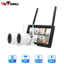 Senza Fili di Sicurezza domestica Sistema di Telecamere 1080P Esterna IP CCTV Kit 7 Pollici Dello Schermo di Tocco di Wifi NVR 4CH di Sorveglianza Audio macchina fotografica Set