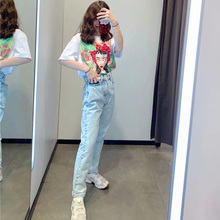 Washed White Jeans Slim Spring Mid-rise Pants Womens Full Length Pants Casual Retro Loose Cowboy Straight Harem Pants Female mid calf flower print straight womens pants