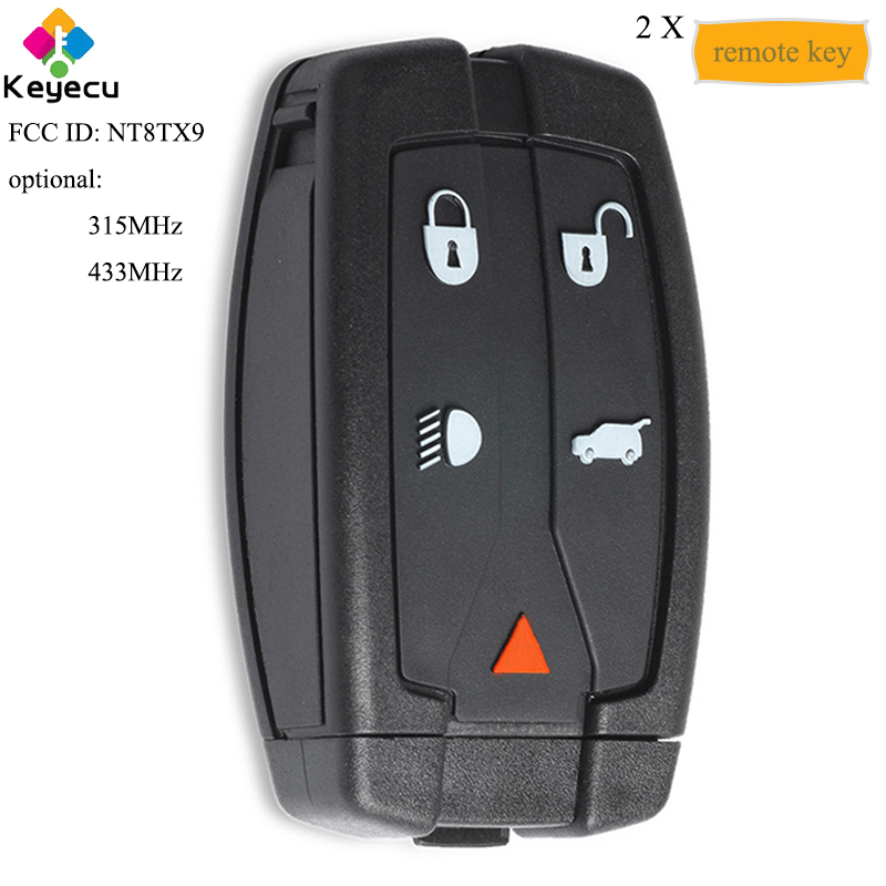 KEYECU Pair New Smart Remote Car Key With 5 Button 433MHz Frequency Uncut Blade FOB for