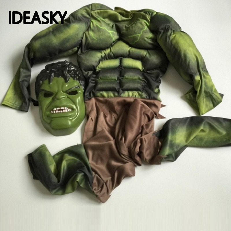 Avengers Endgame Green The Incredible Hulk Costume Muscle Halloween Costume For Kids Boys Children Cosplay Carnival Superhero