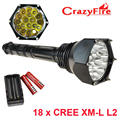 Super Bright 22000LM LED Flashlight High Power 18 CREE XML L2 Outdoor Self-defense Torch Lantern 5 mode +18650 Battery & Charger