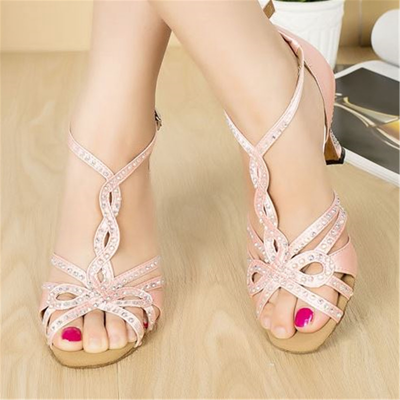 Rhinestone Dance Shoes Pink Ballroom Dance Sandals For Girls Salsa Dance Shoes Woman Latin Dance Shoes Satin Customized JYG832 high quality new 3 layer 7cm air bubble cushion shoe lift height increase heel insoles pair taller for men and women