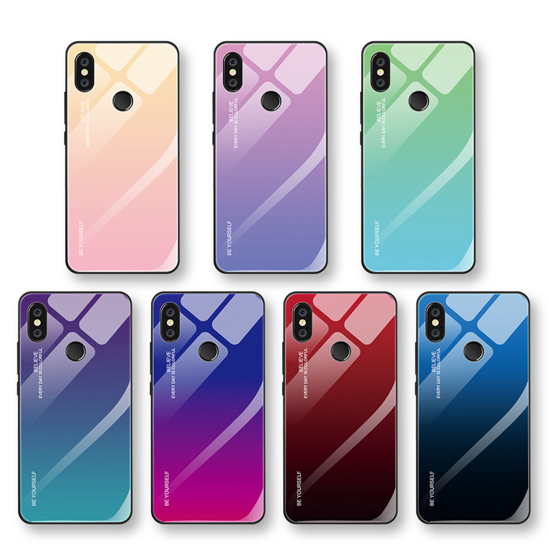 c4a278199 Gradient Tempered Glass Case For Xiaomi Mi 8 Lite Mi A2 Lite A1 Mix 3 6  Redmi 6 Pro 5 Plus Note 5 6 Pro Pocophone F1 Case Cover