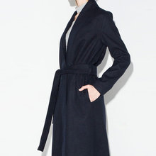 Free Shipping Womens European And American Spring  Autumn Long Trench Casual Wool Winderbreaker With Belt Fashion Clothes J562