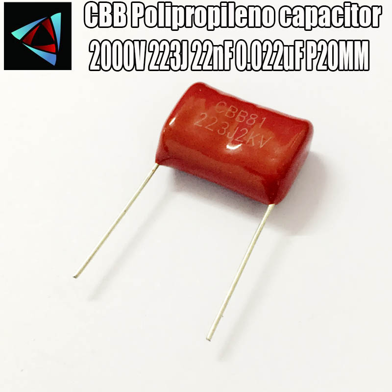 3PCS 2000V 223J 22nF 0.022uF P20MM Polypropylene Film Capacitor Pitch 20mm