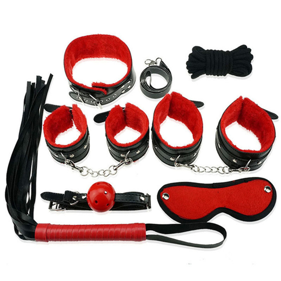 7 Pcs/set Sexy Lingerie PU Leather <font><b>Sex</b></font> Bondage Set <font><b>Hand</b></font> Cuffs Footcuff <font><b>Whip</b></font> Rope Blindfold Erotic <font><b>Sex</b></font> Toys For Couples image