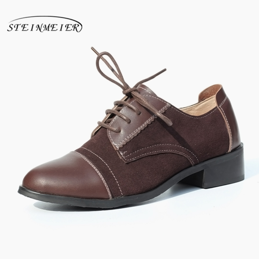 Women flat oxfords shoes for women vintage flats Spring woman loafers genuine leather sneakers 2019 summer