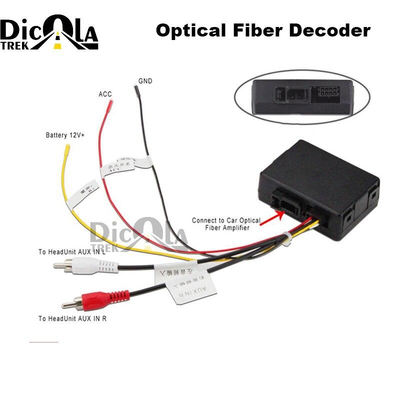 Allungare RCA Aux audio convertitore di fibra kit fit Benz Porsche PIÙ fibra ottica amplificatore di potenza (aftermarket android unità adattatore)