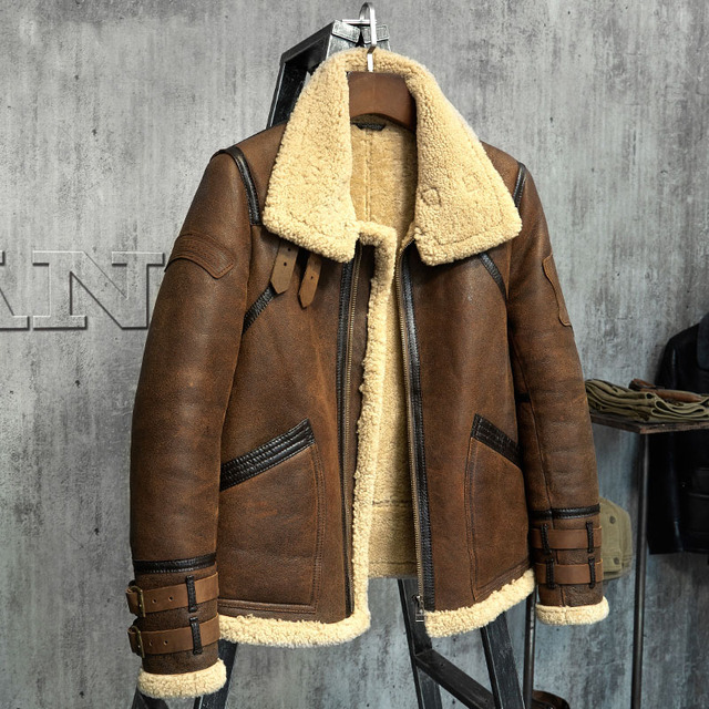 c7c5d6433a5 Fur Coat Men s Shearling Jacket B3 Flight Jacket Short Fur Leather Jacket  Imported Wool From Australia Men s Sheepskin Aviator P