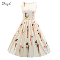 Womens Sleeveless Summer Casual White Dress Floral Printed 1950s Vintage Style Rockabilly Swing Party Dresses Vestidos