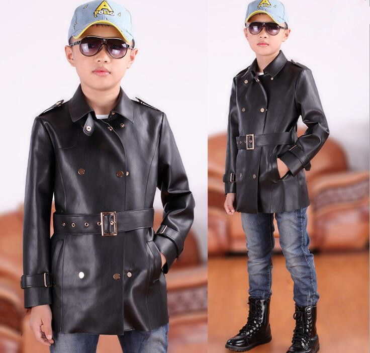 Kids 4-16T Boy Clothes Boys Fashion long Jacket 2017 New Spring PU Faux leather Boys Outwear For Children Brand Kids Dust coat