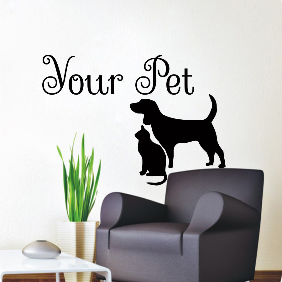 Dctop Your Pet Cat And Dog Wall Sticker Vinyl Removable Home Decor Animal Silhouette Wall Decals