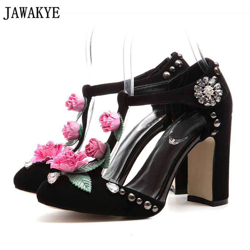 Pink black kidsuede Women Pumps Rivets Studded Chunky High Heels Mary Janes flower crystal wedding Shoes for ladies Stiletto phoentin crystal flower mary janes women pumps shoes strange high heels 10cm hook