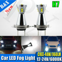 Ruixin Latest 2pcs Canbus Creechips H7 LED Super Bright 48W White Fog Tail Driving Head Car
