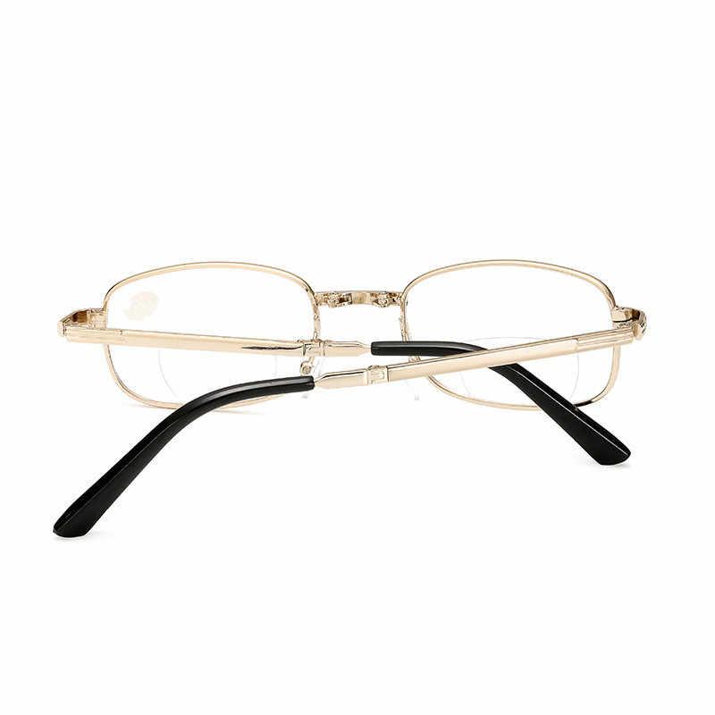 Iboode, gafas de lectura bifocales plegables Unisex, portátil montura de Metal, gafas para presbicia para hombres y mujeres, plegable 1,5 2,0 2,5 3,0 3,5