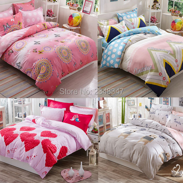 US $34 99 |Lovely Pink Ethnic Medallion Red Hearts 4Pc Twin/Full/Queen/King  Size Bed Quilt/Duvet/Doona Cover Set & Sheet Shams Cartoon Bear-in Bedding