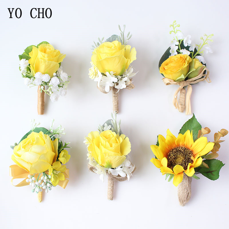 YO CHO Boutonnieres Men Roses Yellow Silk Flowers Wrist Corsages Bracelet Sunflowers For Boutonnieres Marriage Wedding Supplies