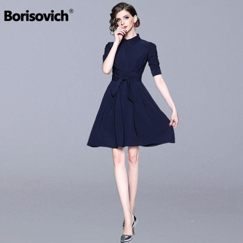Borisovich bureau dame élégante a-ligne robe nouvelle marque 2019 printemps mode col rabattu genou longueur femmes robes décontractées N464