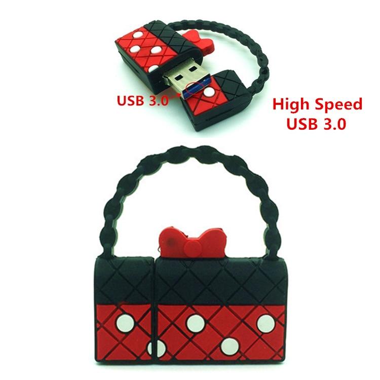 USB 3.0 Minnie Handbag USB Flash Drive Pendrive U Disk Pen Drive 8GB 16GB 32GB 64GB Storage memory best gift For girl friend
