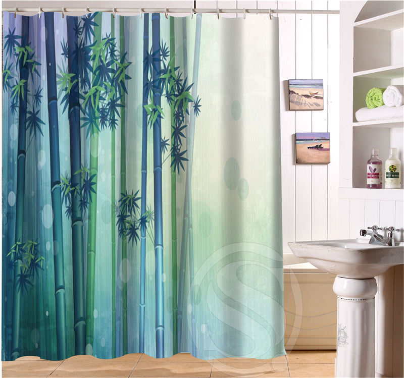 Free Shipping Bamboo Custom Shower Curtain MORE SIZE beautiful Fabric Shower Curtain for Bathroom SQ0427-LQ90