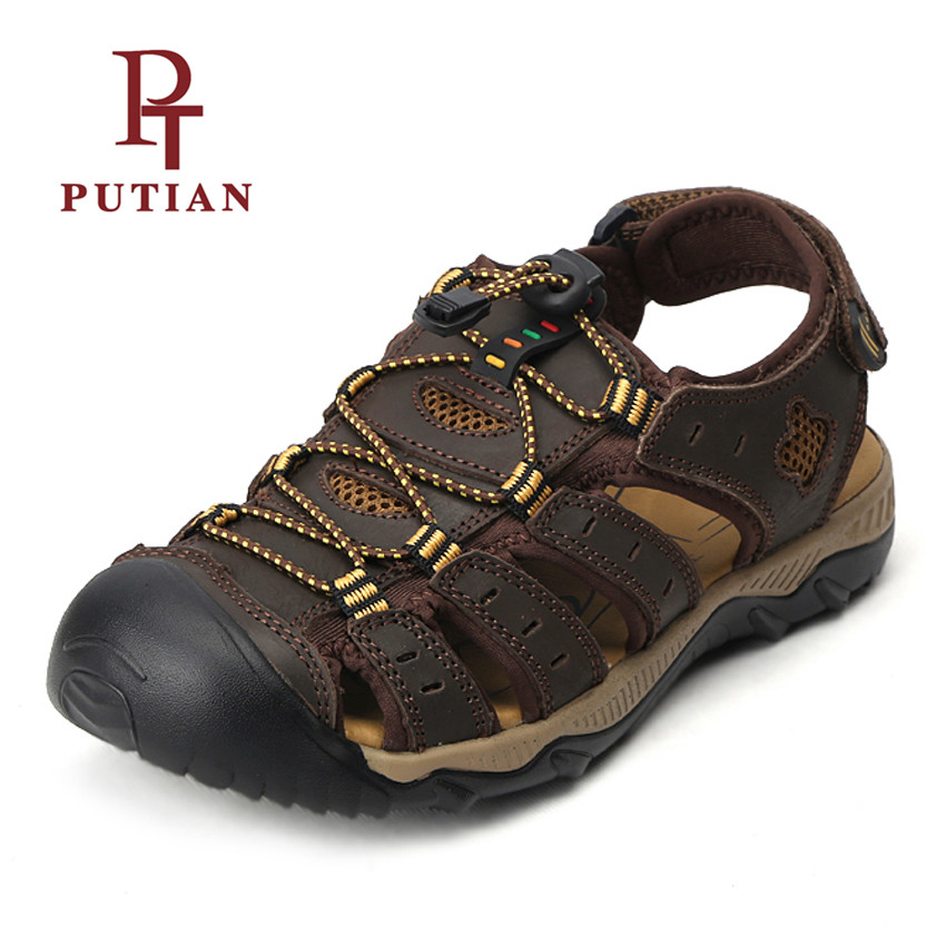 PU TIAN High Quality Genuine Leather Male Outdoor Sandals 2018 Summer New Breathable Flat Beach Sandals For Men Plus Size 38-48
