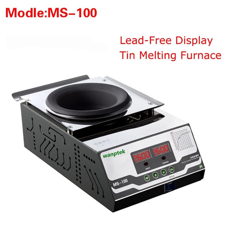 High quality MS-100 Display Lead-Free Tin Melting Furnace,Energy saving melting furnace Melting Tin Quantity 2KG molten tin furnace welding melting furnace machine welder zb1510b dissolve tin dip solder stove for pcb soldering pot