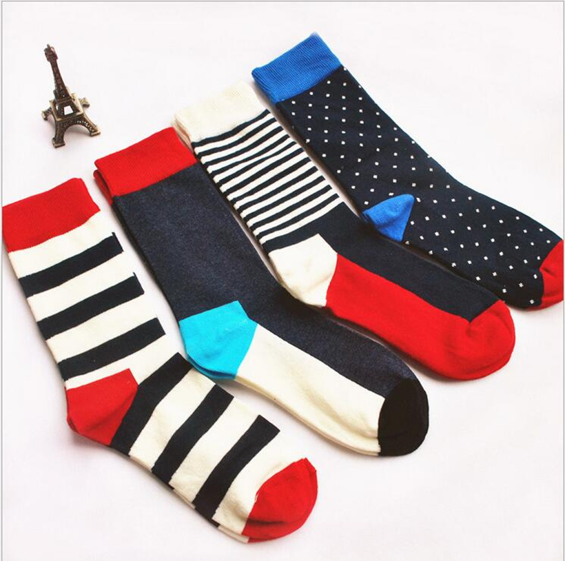 New colour stripes men crew   socks   of happy   sock   casual harajuku dress business designer brand skate long fashion funky