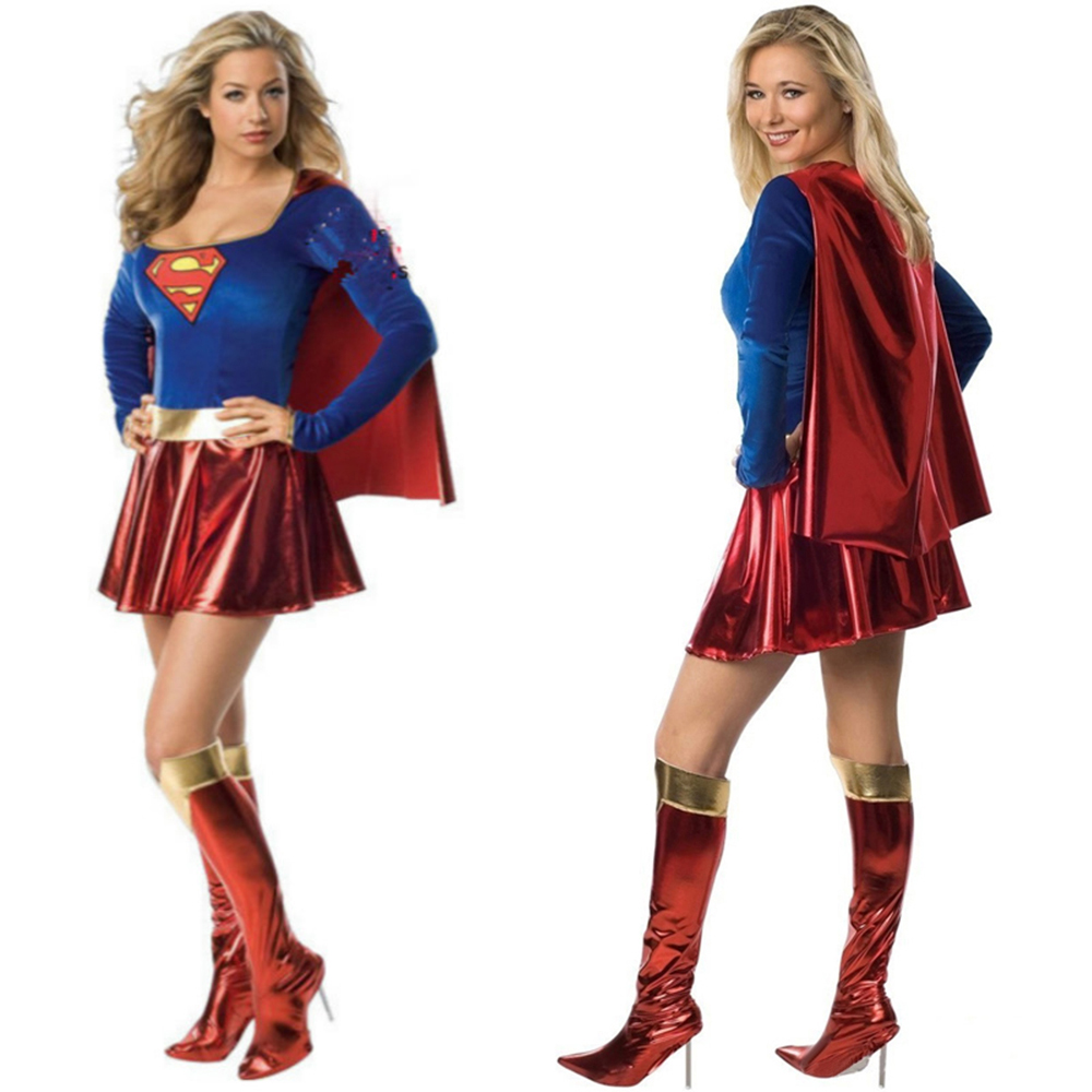 2017 Adult Supergirl Costume Woman Superhero Cosplay Sexy Fancy font b Dress b font Female Superman
