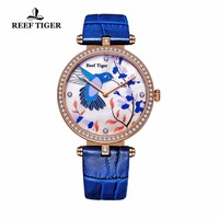 Reef Tiger/RT Womens Watches Leather Strap Rose Gold Fashion Casual Watches Beautiful Diamonds Blue Watch RGA1562